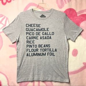 Tops - Chipotle Burrito Ingredients Size Large Shirt Gray